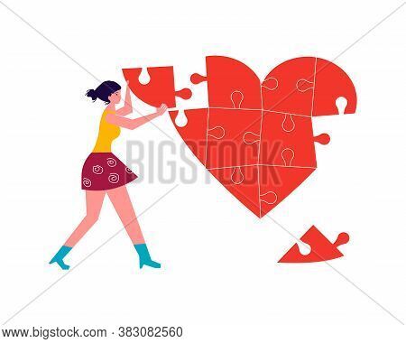 Metaphor Of Love, Betrayal And Relationship. Woman Collects A Heart Puzzle. Connect A Broken Heart A