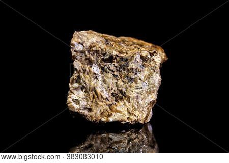 Chalybite, Siderite Or Iron Spar Ore, Raw Rock On Black Background, Mining And Geology, Mineralogy