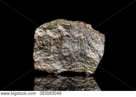 Iron Pyrite Ore, Raw Rock On Black Background, Mining And Geology, Mineralogy