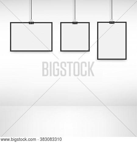 White Poster Hanging On Binder. Vector Illustration