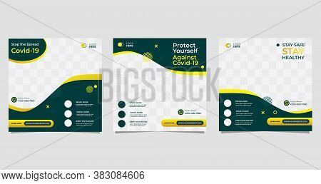 Coronavirus Social Media Post Flyer Collection Template, Medical Health Web Banner About Protect You