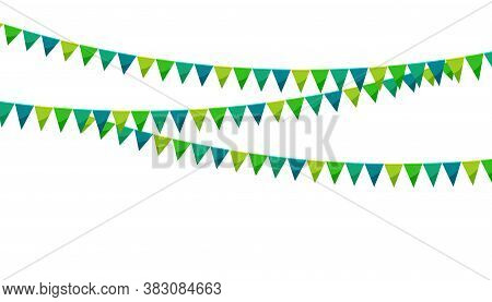 Green Paper Bunting Party Flags Isolated On White Background. Carnival Garland With Flags. Decorativ