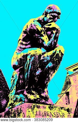 Statue Called - The Thinker - At The Gardens Of The Rodin Museum In Paris. The French Capital Known