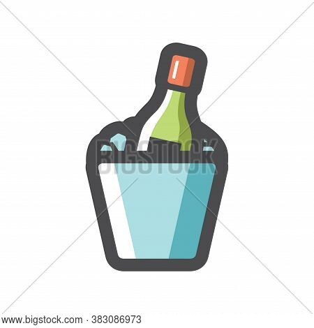 Champagne Bottle And Ice Bucket Vector Icon Cartoon Illustration.