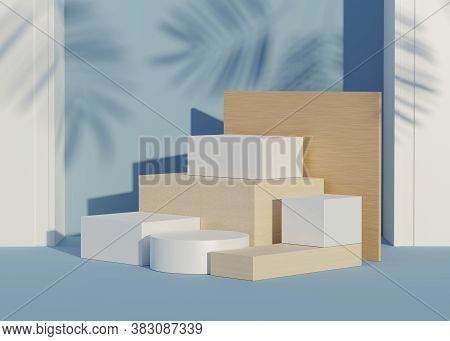 Abstract Background Of Empty Podium Display For Products And Cosmetic Presentation And Mock Up. Clas
