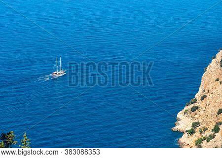 Excursion tourist boat in the Mediterranean Sea near Antalya, Turkey