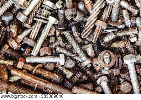 Workshop Parts Background. Rusty Bolts And Screws Texture. Metal Industry Collection. Grunge Dirty S