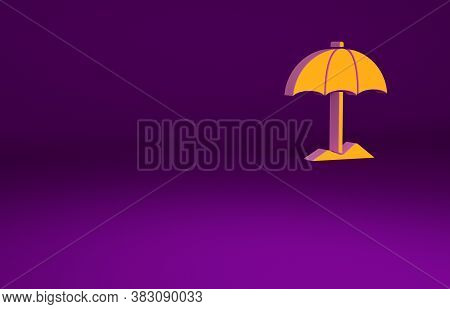 Orange Sun Protective Umbrella For Beach Icon Isolated On Purple Background. Large Parasol For Outdo