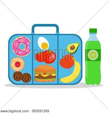 Lunch Box With School Lunch. School Lunch Box. Vector Illustration. Vector.