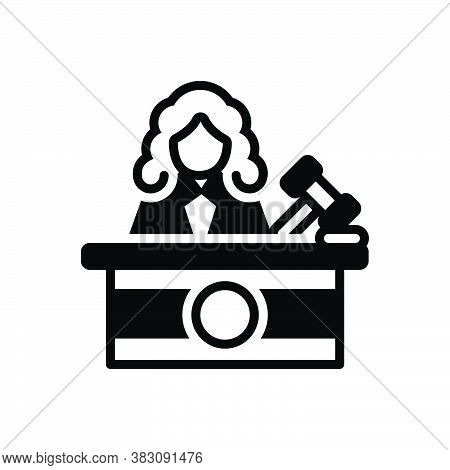Black Solid Icon For Judge Justice Magistrate Magistracy Syllogism Rectitude Court Judiciary Legal