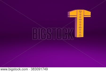 Orange T-square Line For Professional Drafting Icon Isolated On Purple Background. Minimalism Concep