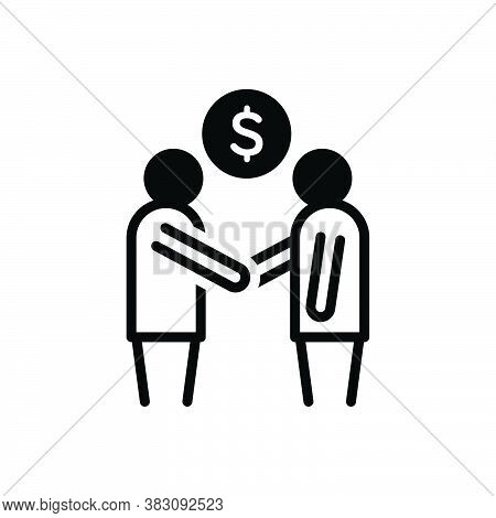 Black Solid Icon For Deal Contract  Bond Pledge Promise Bargain Handshake Friendship Cooperation Agr