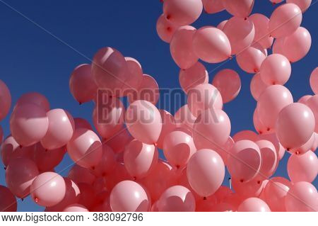 Hundreds Of Pink Balloons Are Released Against The Blue Sky In Memory Of Women Passed Away Because O