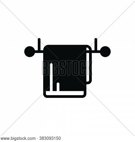 Black Solid Icon For Hang Towel Dangle Attach Hover Drape Swing Overhang