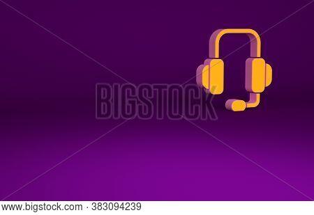 Orange Headphones Icon Isolated On Purple Background. Support Customer Service, Hotline, Call Center