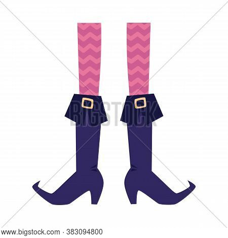 Witch Legs In Pointy Long Boots With Buckles, Flat Vector Illustration Isolated.