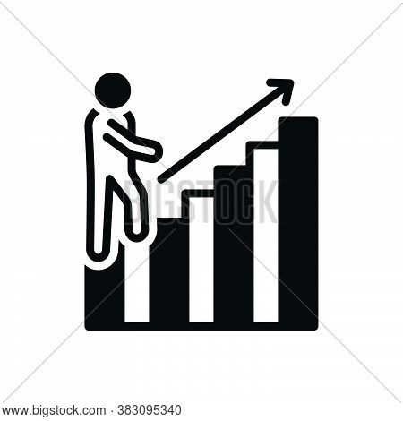 Black Solid Icon For Venture Endeavor Trade Business Merchandise Investment Increase Benefit Success