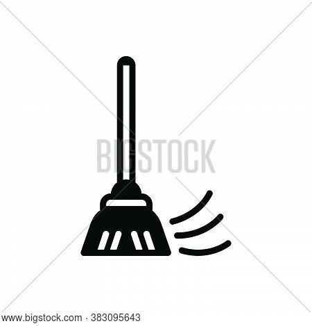 Black Solid Icon For Duster Dust Housekeeper Broom Doodle Cleaner Brush Dust Domestic Household Garb