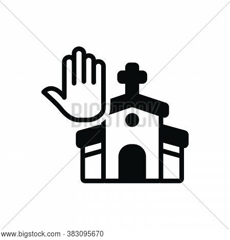 Black Solid Icon For Faith Pray Worship Veneration Church Belief Believe Holy Building Cathalic Reli