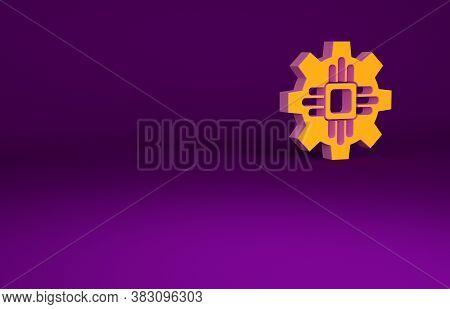 Orange Processor Icon Isolated On Purple Background. Cpu, Central Processing Unit, Microchip, Microc