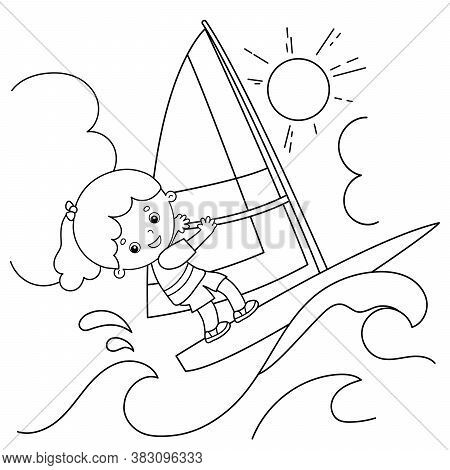 Coloring Page Outline Of Cartoon Surfer On Waves. Windsurfing.  Coloring Book For Kids.