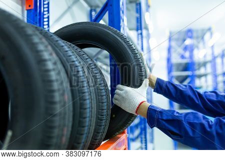 New Tires That Change Tires In The Auto Repair Service Center In The Stock Blur For The Industry, A