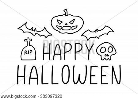 Happy Halloween. Vector Text Happy Halloween With Spider And Bat, Headstone, Grave, Rip. Banner, Pos