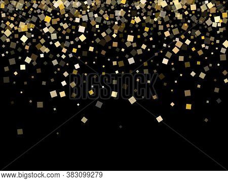 Trendy Gold Confetti Sequins Sparkles Flying On Black. Vip Christmas Vector Sequins Background. Gold
