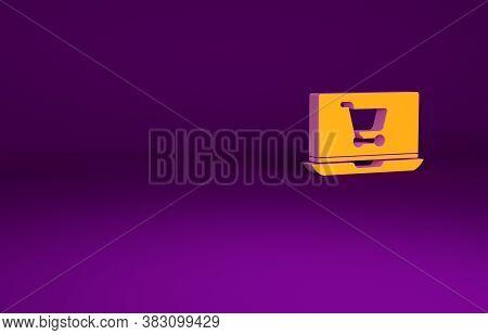 Orange Shopping Cart On Screen Laptop Icon Isolated On Purple Background. Concept E-commerce, E-busi
