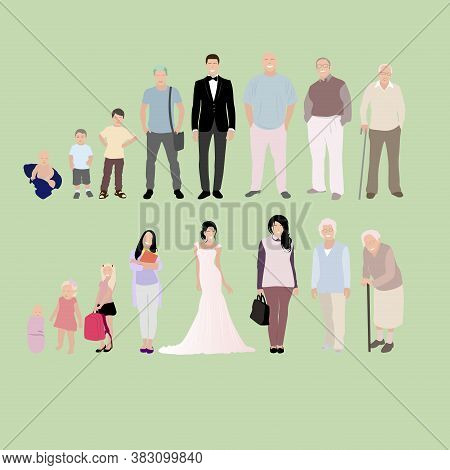 Growing Generation Male And Female, From Baby To Senior. Development Stage, Character Grandfather An
