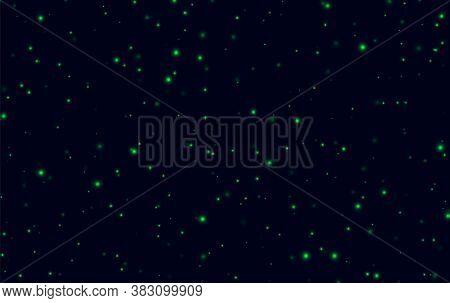 Green Sparkles On A Dark Blue Background, Fireflies Flying In The Night. Abstract Lightning Bugs In