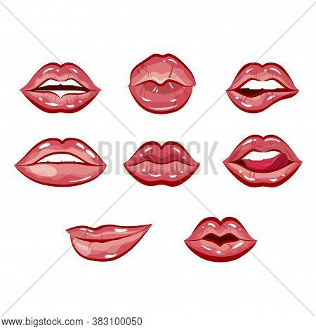 Sexy And Seductive Female Lips. Vector Lipstick Mouth, Illustration Beauty Makeup, Cosmetic Romance