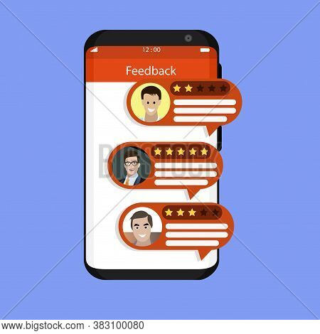 Feedback And Rate From Customer In Smartphone. Vector Feedback And Review On Mobile Screen, Rating S