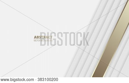 Silver White Luxury Abstract Background With Golden Lines And Shadows. Modern Light Banner With Gold