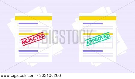 Rejected And Approved Claim Or Credit Loan Form, Paper Sheets And Stamps Flat Style Design Vector Il