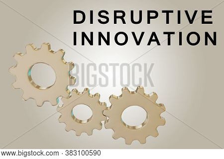 3d Illustration Of Disruptive Innovation Text Along With Three Engaged Gears, Isolated Over Brown Gr