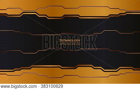 Hi-tech Digital Dark Iron Abstract Background.black And Orange Abstract Metallic Frame Layout Design