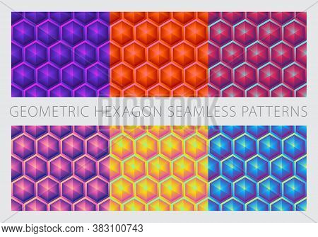 Geometric Hexagon Shapes Seamless Patterns. Bright Neon Psychedelic Colorful Set. Violet, Coral-colo