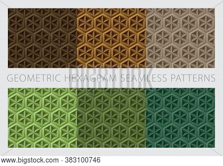 Geometric Hexagram Shapes Seamless Patterns. Color Earth Tone Set. Brown And Green Background. Vecto
