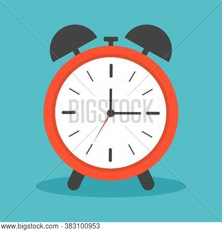 Clock Alarm With Ring. Icon Of Time And Wake. Watch With Shadow For Bedroom. Morning Deadline With A