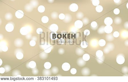 White Bokeh Lights On A Yellow Gold Background. Holiday Glowing White Lights With Sparkles. Defocuse