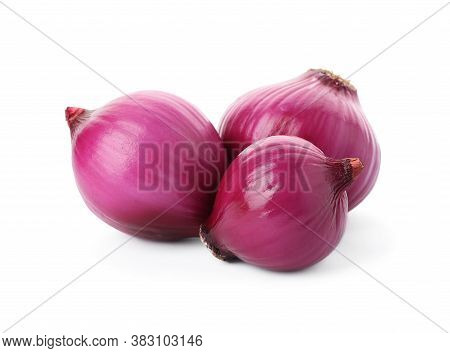 Fresh Red Onion Bulbs Isolated On White