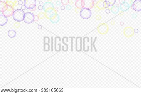 Rainbow 3d Circle Realistic Transparent Background. Liquid Round Sphere Card. White Abstract Soapy B