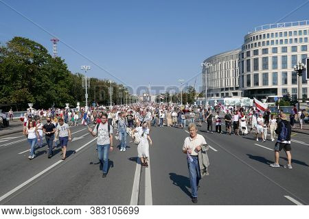 Minsk, Belarus - August 30, 2020. People Attend A Protest March Against The Results Of The President