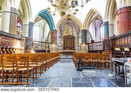 Haarlem, The Netherlands - May 31, 2019: Interior Saint Bavo Or Great Church In Haarlem With Grave O