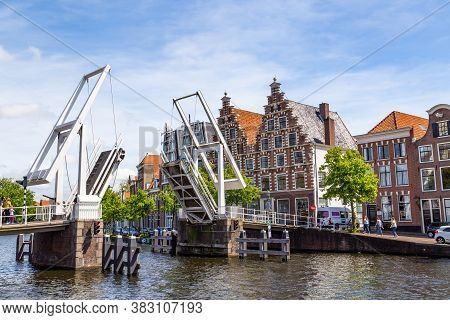 Haarlem, The Netherlands - May 31, 2019: Cityscape Haarlem With Gable Hosues, Bridge, Canal And Cana