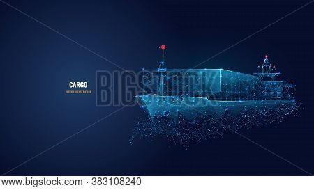 Abstract Low Poly 3d Cargo Ship Isolated In Dark Blue Background. Container Ships, Transportation, L