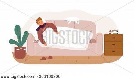 Guy With Fever And Influenza Symptoms Lying On Sofa Under Blanket Vector Flat Illustration. Sickness