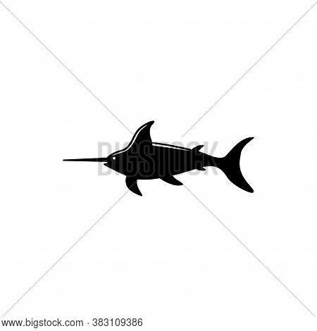 Marlin Fish, Atlantic Swordfish, Wildlife. Flat Vector Icon Illustration. Simple Black Symbol On Whi
