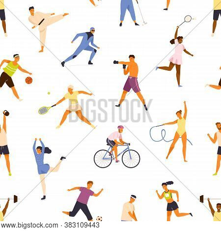 Man And Woman Performing Various Kinds Of Sports Seamless Pattern. People Demonstrate Physical Activ